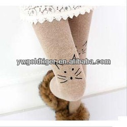 Cute Elegent Skin Color HUE Art of Pantyhose Lovely Ballet Thick Warm Winter Women Velvet Cat Tattoo Tights
