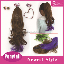 Highlight hair extension claw clip drawstring ponytail