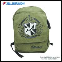 Latest arrival leisure travel canvas backpack, fashion military teenage school bag travel bag