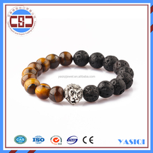 Alibaba factory price fashion jewelry lion statues men bracelet lava & tiger eye bead bracelet
