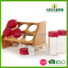 6pcs Wooden cruet set with glass jar