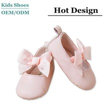J-B0175 100% Leather Fashion Baby White Shoes Smart Baby Girl Bow Toddler Flexible Shoes