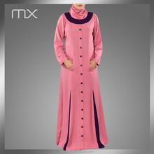 pink arabic abaya dubai style burka long sleeve moroccan kaftan muslim model baju kebaya