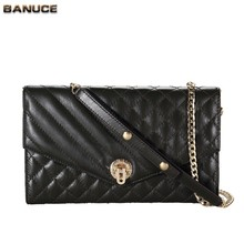 BANUCE Ling Plaid Pattern Long Chain Cheap Woman Shoulder Bags Designer Genuine Leather Messenger Bag