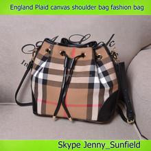 England Plaid canvas shoulder bag genuine leather fashion handbag