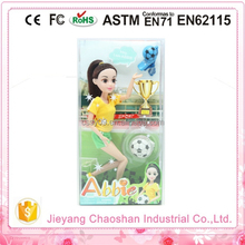 New Arrival High Quality Outdoor Sport Girl Doll With Small Football