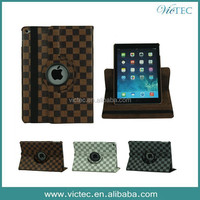 360 rotary for ipad air case leather with grid pattern