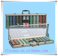 Acrylic cover aluminum poker chip set,design poker game set with playing card
