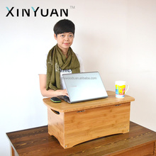 height adjustable desk table in bamboo