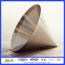 stainless steel kone coffee filter/ stainless steel conical strainer