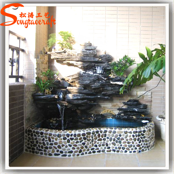 Indoor decor garden pond fiberglass fish ponds stone for Artificial fish pond