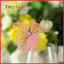 Wholesale Paper Decorations Place Cards Newest Squirrel Shaped Die Cut Paper Wine Glass For Baby Shower&Christmas Decoration