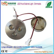 Dimable led puck lights AC/DC12V 3W led puck high quality 3w