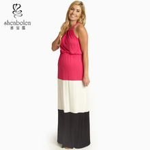 M3186 maxi maternity dress for casual occasion elegant loose fit colorblock special design