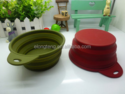 silicone collapsible dog travel bowl with a handle