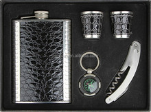 Black Leather Stainless Steel Hip Flask Gift Set Liquor flagon set Wedding Favors gifts