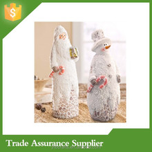 Pebbled Santa and Snowman Resin Statue Set Polyresin Figurine