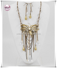 Burnished Gold Tone / Clear Acrylic / Lead Compliant / Butterfly Charm Necklace & Fish Hook Earring Set