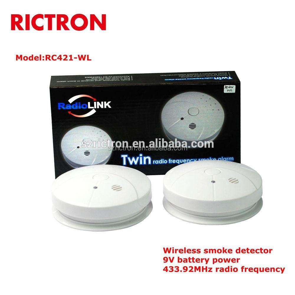 battery operated wireless smoke detector with low battery alarm rc421 wl wi. Black Bedroom Furniture Sets. Home Design Ideas