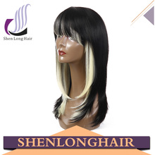 Alibaba kanekalon synthetic hair monofilament ombre wigs with grey hair wig with bangs