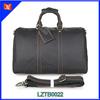 Vintage western style unisex genuine leather duffel bag for travelling handbag with adjustable strap