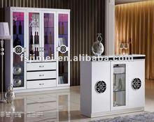 High gloss white home bar cabinet