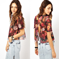 new fashion girls tops, top print, mesh top with short sleeve made in China 2014 OEM