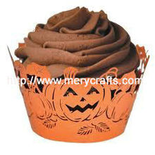 "Hot design laser cut ""pumpkin"" orange cupcake wrapper cake stand for wedding cakes"