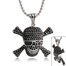Fashion Stainless Steel Skull Pendant With Crystal Cross