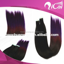 ombre remy tape hair extension/thin skin weft/great lengths hair extensions tape straight hair
