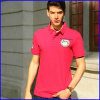 Wholesale 65% polyester 35% cotton wrinkle placket fashion t shirt custom mens polo shirts