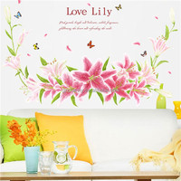 Warm Beautiful Love Lily Flower Removable PVC Wall Sticker Decal Waterproof Wallpaper DIY Home Decoration Bedroom Office Dorm