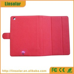 For ipad mini charging, red pu leather backup battery power case 6000 for ipad mini