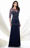 Hot Selling A-line Elegant Long Sleeve Crystal Bead Robe De Soiree Maxi Evening Dress Mother Of The Groom Dresses CJ472