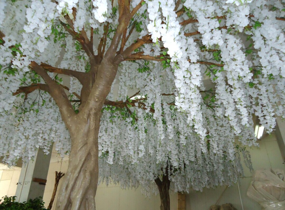 Gnw Bls080 Durable And Burly Fake White Wisteria Trees ...