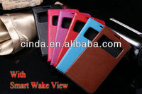 Genuine Leather Flip Case Cover Smart Wake View for Huawei Honor 3X G750 G740