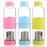550ml New Style Glass Water Bottles with Flip Resistant Silicon Rubber