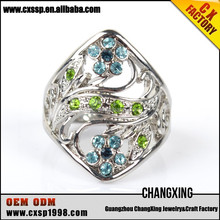 2015 The fashion green and blue diamond latest design silver rings
