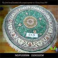 round green 100%handmade commercial carpet design raw silk material