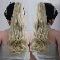 Synthetic Ponytails Blonde Color for White Women Long Curly Wave Claw Clip Pony Tail Wholesale