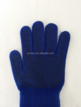 Blue plastic disposable hand gloves