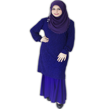 Wholesale new fashion satin islamic clothing model baju kurung modern