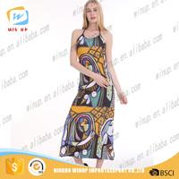 Hot Sale Fashion Print Women Tube Prom Dress Coral Maxi Dress