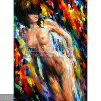 Handmade Modern impressionist Palette knife 3d painting with naked girl
