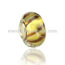 European Style gold foil large hole glass beads in bulk for beautiful jewelry&bracelets