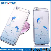 Dolphin transparent phone case for iPhone 6, sea lion tpu clear soft case cover for iPhone 6 4.7inch