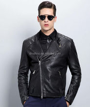 2015-2016 HOT SALES Men's Fashion Black Fitted Leather Jacket