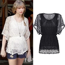 Fashion Lady Women Batwing Sleeve O-neck Hollow Out Sexy Back Lace Shirt Tops Blouse SV017492