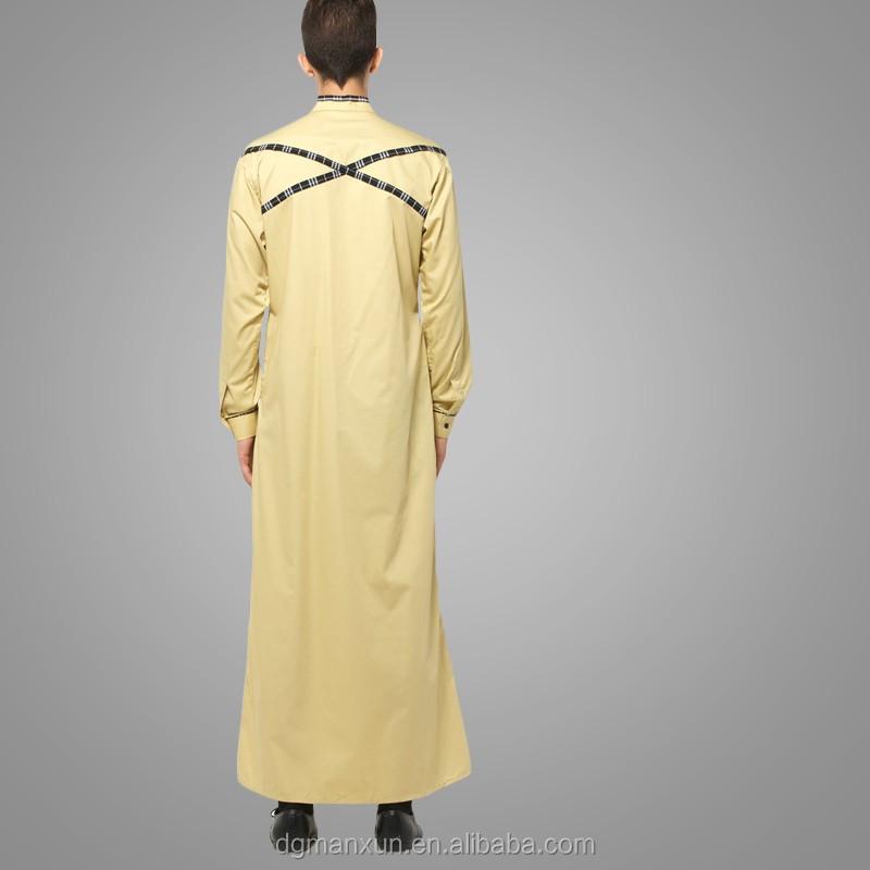 Mens Thobe Islamic Clothing with  X Series Light Gold Men Abaya (1).jpg