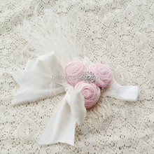 Roll Flower Ivory Ostrich Feather Dupioni Silk Bow Baby Headband Kids Hair Accessories
